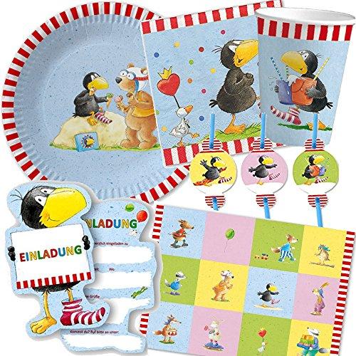 et * KLEINER RABE SOCKE * für Kindergeburtstag und Motto-Party // mit Teller + Becher + Servietten + Platzsets + Einladungen + Trinkhalme + Luftschlangen + Luftballons // Kinder Deko Dekoration Geburtstag ()