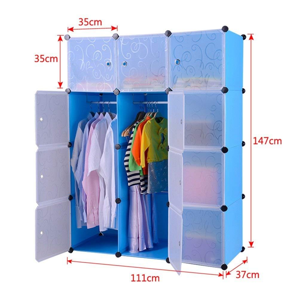 Kleiderschrank aus Kunststoff DIY Regalsystem Garderobenschrank Steckregalsystem Garderoben Steckregal Aufbewahrung, 12 Würfeln mit Türen, Blau 2