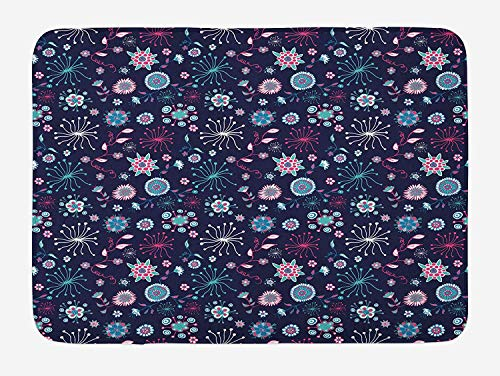 JIEKEIO Doodle Bath Mat, Flowers Leaves Petals Pansy Bluebells Dandelion Modern Mother Mature, Plush Bathroom Decor Mat with Non Slip Backing, 23.6 W X 15.7 W Inches, Indigo Pale Sea Green Pink -