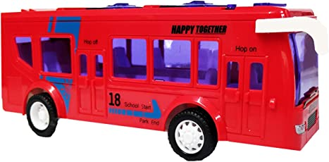 Emob Battery Operated Luxury Model Bus Toy with Light & Sound Effect (Red)