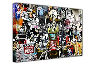Large Banksy Print Canvas Collage Prints Mix Graffiti Best Of Banksy Collection Wall Art Landscape Pictures - cheap UK light store.