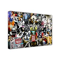 LARGE BANKSY PRINT CANVAS COLLAGE PRINTS MIX GRAFFITI BEST OF BANKSY COLLECTION WALL ART LANDSCAPE PICTURES