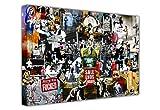"Banksy Leinwanddruck, Collage aus Druck, Graffiti, Best of Banksy, horizontal 8- A1 - 24"" X 30"" (60CM X 76CM)"