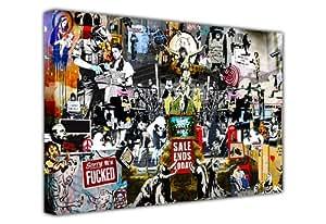 "Banksy Leinwanddruck, Collage aus Druck, Graffiti, Best of Banksy, horizontal 7- 20"" X 30"" (50CM X 76CM)"