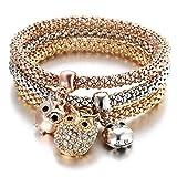 Westeng - Bracciale da Donna con ciondoli pendenti a forma di ricoperti di strass, con catenina in scala dorata, set di 3 pezzi (gufo)