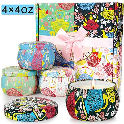 AYOUYA Duftkerze Weihnachten Duftkerzen Set Teelichter Scented Candle Geschenkset, Aromatherapy Kerze in 4 Dosen (Duftkerze Set 2) -
