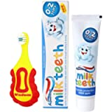 Wisdom Step-by-Step Baby Toothbrush 0-2 Years and Aquafresh Milk Teeth Babies Toothpaste 50ml Set, Supersoft Brush Extra…