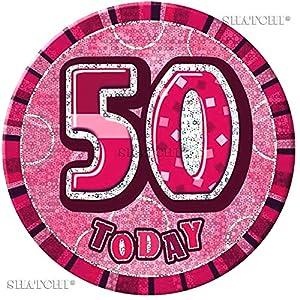 Gifts 4 All Occasions Limited SHATCHI-647 - Insignia de 50 cumpleaños con purpurina, color rosa