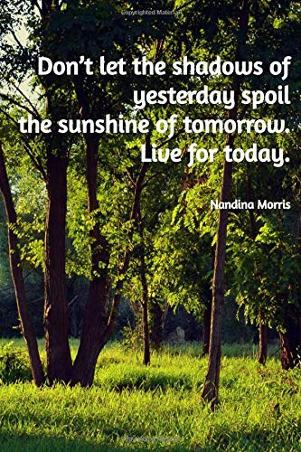Don't let the shadows of yesterday spoil the sunshine of tomorrow. Live for today.: 110 Lined Pages Motivational Notebook with Quote by Nandina Morris