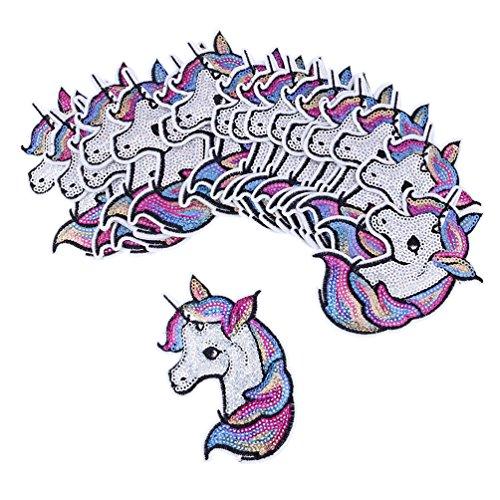 Kesheng 20pcs Parche Unicornio Lentejuelas Termoadhesivo para Decoración de Ropas