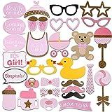 29 Stück Baby Girl Mädchen Party Shower Photo Booth Verkleidung Deko Foto Spass Masken Teile Schnurrbart Brille Kinderwagen Geburtstag Birthday Fun