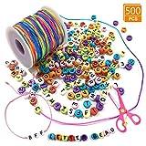 Airrioal Runde Buchstaben Perlen Zum 500 Stück mit 1 Rolle 50M Elastische Schnur für...