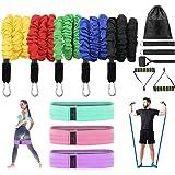 Set de bandas de resistencia,5 Bandas Elasticas Musculacion y 3 cintas gomas elasticas fitness, Adecuado para fitness yoga fi
