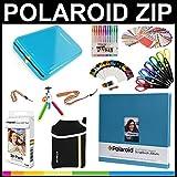 Polaroid-Zip-Mobil-Drucker Geschenk-Paket + Zink-Papier (30 Blätter) + 18 x 18 cm Stoff-Sammelalbum + Tasche + 6 Bastelscheren + 100 Rahmenaufkleber + farbige Gelschreiber + Rahmen + Zubehör.