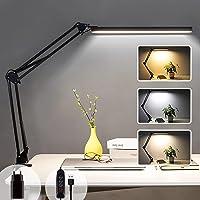 Lampe de Bureau LED à Pince, Lampe de Lecture Architecte 14W, 3 Couleur et 10 Intensité Variable, Lampe de Table USB…