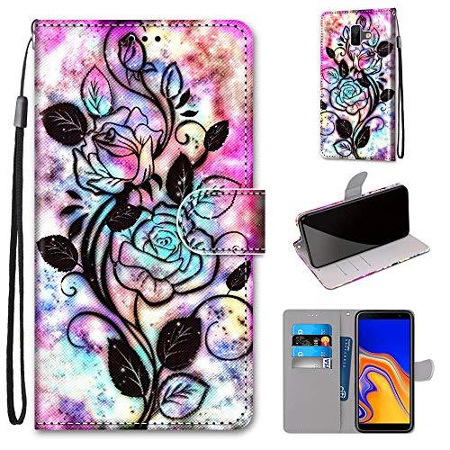 Miagon Flip PU Leder Schutzhülle für Samsung Galaxy J6 Plus,Bunt Muster Hülle Brieftasche Case Cover Ständer mit Kartenfächer Trageschlaufe,Blume Blatt