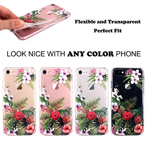 JIAXIUFEN TPU Gel Silicone Protettivo Skin Custodia Protettiva Shell Case Cover Per Apple iPhone 7 (2016) / iPhone 8 (2017) - Fiore Floreale Design Rose Flower Flower Bloom