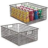 mDesign boîte en métal Polyvalente (Lot de 2) - Grand Panier de Rangement en Fil...