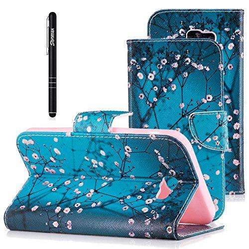 Hülle für Galaxy A7 2017 Handyhülle Leder,Samsung Galaxy A7 2017 Schutzhülle Leder Hülle,Slynmax Flip Tasche Brieftasche Wallet Hülle Klapphülle mit für Samsung Galaxy A7 2017,Grüne Pflaumenblüte - Mikrofaser-wallet-karte
