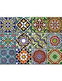 Backsplash Pegatinas para azulejos, 24 unidades, auténticos azulejos de Talavera tradicionales, para baño y cocina, fáciles de aplicar, solo…