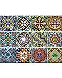 Backsplash Pegatinas para azulejos, 24 unidades, auténticos azulejos de Talavera tradicionales, para baño y cocina, fáciles de aplicar, solo retirar e