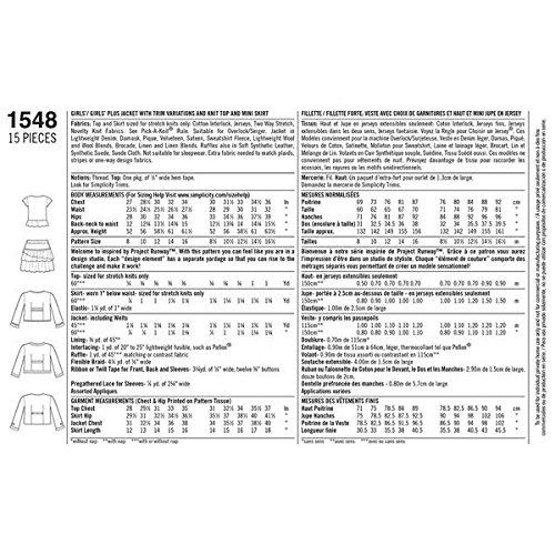 Simplicity Project Runway Muster 1548Mädchen Plus Jacke mit saumvarianten und Knit Top und Mini Rock Größen 81/2-161/2 -