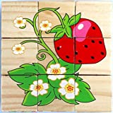 #9: Vibgyor Vibes™ Early Age 6 in 1 Wood Block Puzzles for small Kids. (Fruit Theme)