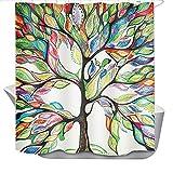 SearchI Duschvorhang Wasserdicht Anti-Schimmel für Badezimmer 3D Digitaldruck Farbiger Baum mit Helle Farben lebendigen, mit 12 Duschvorhangringe,180x180cm