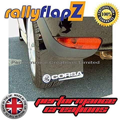 rallyflapZ Guardabarros para Opel Corsa C (2000-2007) negro Logo blanco (3mm PVC)