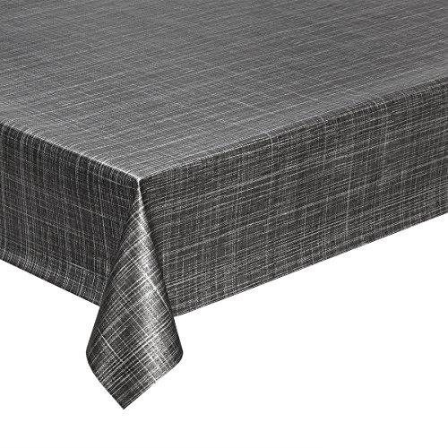 Nappe toile cirée au mètre lavable en PVC apparence tweed Anthracite Largeur 140 cm