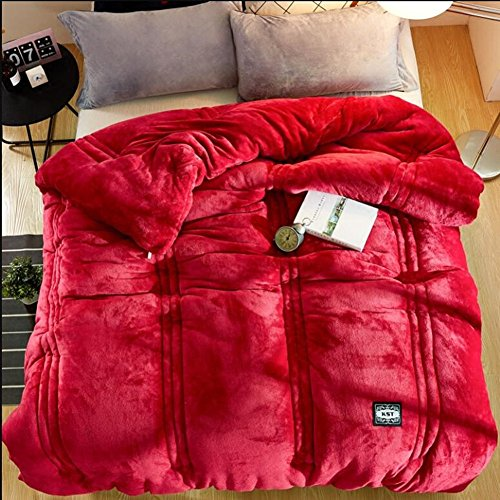 DW&HX Velvet quilts korallen winter flanell winter quilts mantel, Dicke warme steppdecken doppelte farbe-rot-rot 220x240cm(87x94inch) -