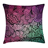 Modern Decor Throw Pillow Cushion Cover, Curved Swirled Shapes in Vibrant Colors Tangled Artistic and Entrancing, Decorative Square Accent Pillow Case, 18 X 18 Inches, Purple Pink Teal