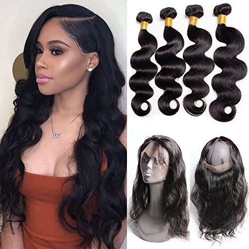 Maxine malaysian body wave human hair 3 bundles with 360 lace frontal closure 22.5x4x2 lace full frontal with bundles natural black color 24 26 28 with 18inch 360 frontal closure