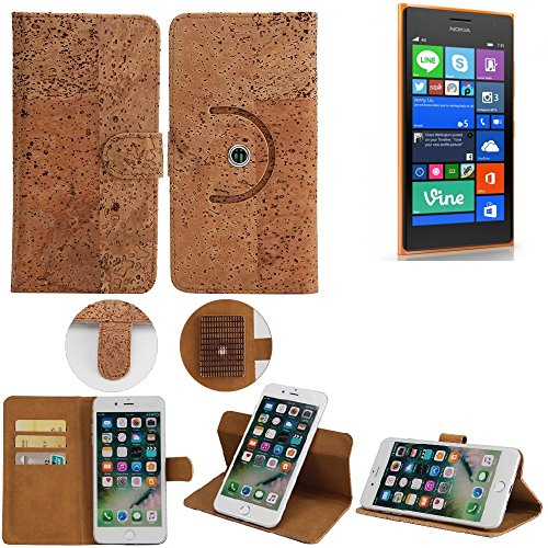 K-S-Trade Schutz Hülle für Nokia Lumia 730 Dual SIM Handyhülle Kork Handy Tasche Korkhülle Schutzhülle Handytasche Wallet Case Walletcase Flip Cover Smartphone
