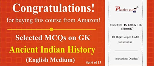 Practice Guru Selected MCQs on GK - Ancient Indian History Set 6 of 13 (Voucher)
