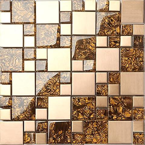 Carrelage mosaïque en verre et acier inoxydable. Or Motif rayures ondulées. Les feuilles entières de carreaux mesurent 30cm x 30cm (MT0087 Animal)
