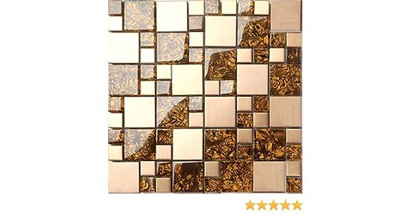 Die St/ärke betr/ägt 8mm f/ür W/ände MT0087 m2 1qm Glas und geb/ürstetem Edelstahl Mosaik Fliesen Matte in Gold