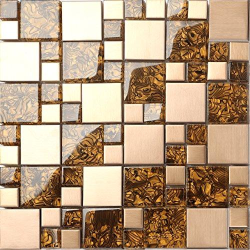 Glas und gebürstetem Edelstahl Mosaik Fliesen Matte in Gold (MT0087) Die Stärke beträgt 8mm für Wände
