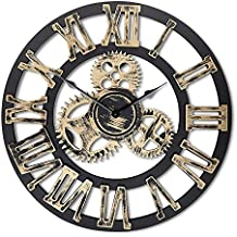 """16""""redondo reloj de pared, antiguo hecho a mano de madera Vintage 3d diseño de Gear, por Chevy K."""