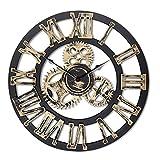 16'redondo reloj de pared, antiguo hecho a mano de madera Vintage 3d diseño de Gear, por Chevy K.