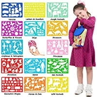 Stencil Drawing Kit for Kids w/ Carry Case - 54 pcs. w/ 280 Stencil Shapes and Colored Pencils - Arts and Crafts for Home Travel - Fun Creative Educational Toy for Girls and Boys Ages 3 to Teen