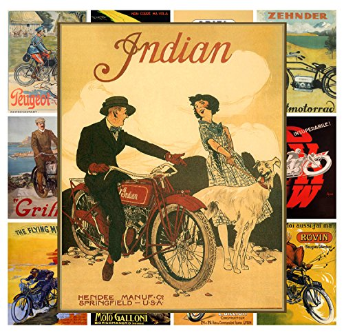 Wall Calendar 2017 [12 pages 20x30cm] Moto Bike Bicycle Vintage Ads Poster por Pixiluv