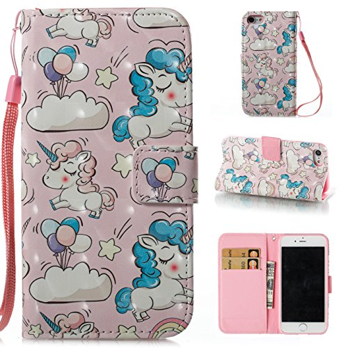 Ooboom® Hülle für iPhone X Handy Tasche 3D Flip PU Leder Schutzhülle Stand Brieftasche Wallet Case Cover mit Trageschlaufe - Vogel Einhorn Rosa