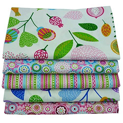 "Paquetes de tejido acolchado Fat Quarters de 5 piezas, tela de algodón de colores 46x56cm para acolchar patchwork de costura, 18""x 22"""
