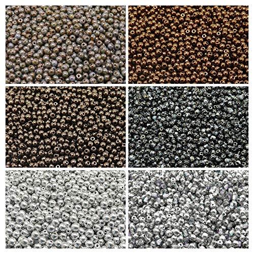 600 pcs 6 couleurs, Perles de verre pressées tchèque, rond 3mm, Set RP 309 (3RP007 3RP009 3RP010 3RP012 3RP021 3RP022)