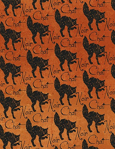 Fat Quarter Wicked Halloween Katzen orange 100% Baumwolle Quilten Stoff c3385 -