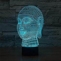 Buda 3D LED Luz de la noche romántica atmósfera multicolor cambio luz de la noche botón de escritorio de la lámpara de mesa de la luz creativa de tres dimensiones noche de Navidad regalo
