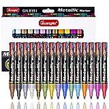 15 Farben Metallic Marker Stifte Lackstift für Steinmalerei, Glas, Holz, Porzellan, Kartenherstellung und DIY