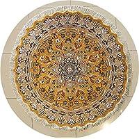 RugsTC 152 x 155 Pak Persan Tapis avec Pile de Soie et Laine - Design Floral | 100% Noué à la Main Authentique en Doré, Beige, Couleurs Gris | Un Tapis de Haute qualité Rond catégorie 152 x 152