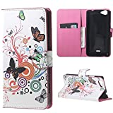 Schutzhülle für Wiko Rainbow Jam (5 Zoll) Tasche PU Leder [Flip Wallet Case] Wiko Rainbow Jam Handyhülle Tasche Etui Schale mit Standfunktion Kartenfächer - Bunter Schmetterling